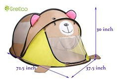 GreEco Extra Large Childrens Pop Up Tent Instant Portable Travel Baby Tent Boat Shape PopUp Mosquito Nets Tent 785 X 375 X 30 Inch Teddy Bear >>> See this great product.