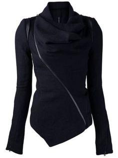 Stylish Cowl Neck Long Sleeve Zippered Women's Leather Trim Jacket