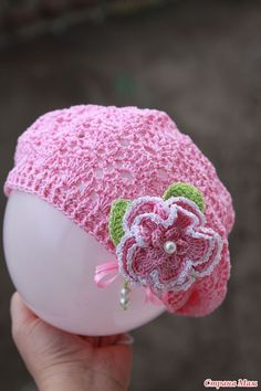 Pretty pink crochet hat.