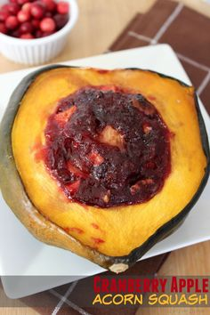 Cranberry Apple Acorn Squash - Life Love Liz Use small squash or cut into 1/4's and add cran filling with 15 min to go.