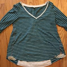 Anthropologie teal striped shirt with flirty back Meadow Run brand from Anthropologie. Cute striped top with flirty lace back. Anthropologie Tops Blouses