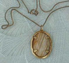 Chalcedony Banded Sard Pendant Necklace Vermeil Chain Jewelry