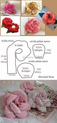 Pap e moldes da almofada Flor_ rosa