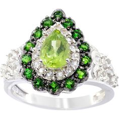 <li>Peridot, chrome diopside and white topaz ring</li> <li>Sterling silver jewelry</li> <li><a href='http://www.overstock.com/downloads/pdf/2010_RingSizing.pdf'><span class='links'>Click here for ring sizing guide</span></a></li>
