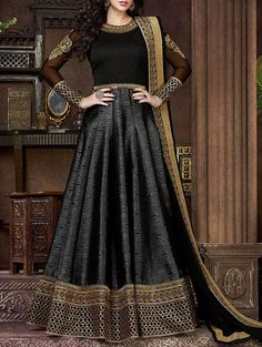 Durga Emporio black art silk embroidered anarkali suit