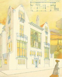 """booksnbuildings: """" Art nouveau architecture designs by the seemingly (and obviously unjustly) half-forgotten architect Em. That golden light could well summarise fin-de-siècle: the last. Art Nouveau Architecture, Historical Architecture, Architecture Design, Gouache, Elevation Drawing, Modern Drawing, Old Building, Detail Art, Art Pages"""