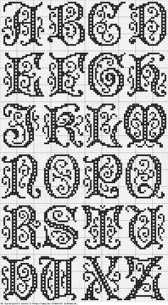 Cross Stitch Free chart クロスステッチフリーチャート: Alphabet アルファベット                                                                                                                                                     もっと見る
