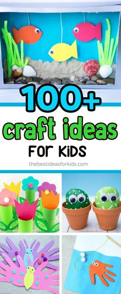Over 100+ Easy Craft Ideas for Kids. Easy crafts for any age - toddler, preschool, kindergarten. Summer, winter, and all holiday craft ideas. #kidscrafts #easycrafts #craftideas via @bestideaskids
