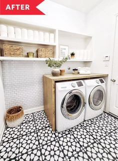 Before and After: A Bright and Airy Laundry Room Makeover Garage Laundry, Mudroom Laundry Room, Laundry Room Remodel, Laundry Decor, Laundry Room Organization, Small Laundry, Laundry In Bathroom, Laundry Room Countertop, Laundry Room Makeovers