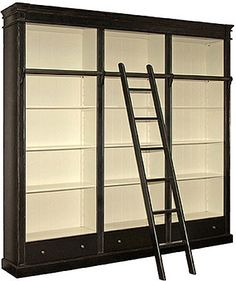 PORTOBELLO ANTIQUE BLACK LIBRARY BOOKCASE - LUXURY HOME FURNITURE Portobello Antique Black Library Bookcase made from Mahogany with an authentic aged slightly distressed finish with ladder from our on