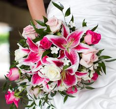Had to pin this picture of a wedding bouquet featuring a flower that is very special to me, the Stargazer Lily. I carried a similar bouquet on my wedding day. Stargazer Lily Bouquet, Stargazer Lily Wedding, Lily Bouquet Wedding, Bride Bouquets, Wedding Flowers, Calla Lilies, Rose Bouquet, Green Bridesmaid Dresses, Bridesmaid Bouquets