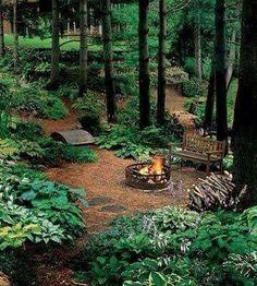 Woodland Garden Design Ideas_27 Garden Yard Ideas, Garden Spaces, Patio Ideas, Backyard Farming, Fire Pit Backyard, Backyard Patio, Outdoor Landscaping, Backyard Landscaping, Landscaping Ideas
