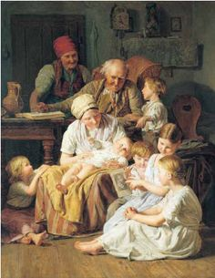this painting  tells a story. It shows you how happy they are spending time with each other. I can relate to this picture cause I love my family. Its very nice and the colors are simple and not to bright which makes the picture perfect.