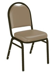 French Beige Dome Top Vinyl Upholstered Padded Stack Chair