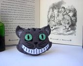 Cheshire Cat Brooch - Felt Art Inspired by Alice in Wonderland Lewis Carroll by Grace's Favours