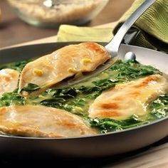 This Italian-inspired skillet dish features tender chicken breasts sauteed in a brightly flavored lemon sauce with fresh baby spinach. Plus, this restaurant-style meal is on the table in just 25 minutes!