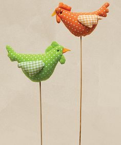 Love this Green & Orange Dot Spring Chick Stick - Set of Two on #zulily! #zulilyfinds