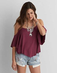 AEO Soft & Sexy Cold Shoulder Swing Top, Purple | American Eagle Outfitters