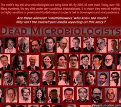 """List of Dead Microbiologists.  Read Jim Marrs' book, """"The Trillion Dollar Conspiracy"""""""
