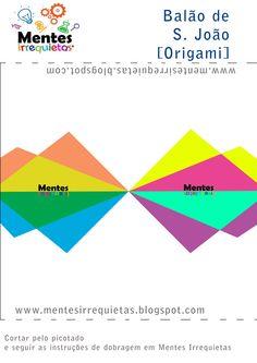 Origami template, DIY. Molde e  PAP. Balão de S. João.