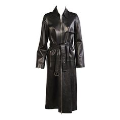 Celine Stunning Black Leather Trench Coat, Never Worn | From a collection of rare vintage coats and outerwear at https://www.1stdibs.com/fashion/clothing/coats-outerwear/