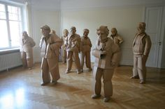 in the warren king cardboard shaoxing villagers series, the artist sculpts residents of his grandparents' home village china, one individual at a time. Cardboard Sculpture, Paper Mache Sculpture, Sculpture Art, Paper Art Design, Art Fair, Installation Art, Sculpting, King, Culture