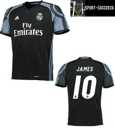 best sneakers 8c810 2f569 JAMES #10 REAL MADRID 3rd BLACK NEW 2016-17 SOCCER JERSEY SHIRTS -The