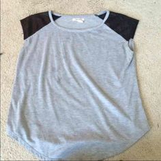 Aeropostale tank with faux leather shoulder Size L Aeropostale tank with faux leather shoulder pads Aeropostale Tops Tank Tops