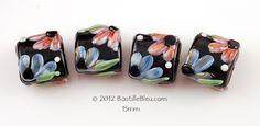 $24  Floral Pillow Set - Handmade lampwork art beads, jewelry & supplies by Bastille Bleu Lampwork
