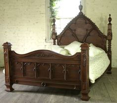 ... Mahogany Carved 5' Carved Gothic Empire Bed King Size High Finial New