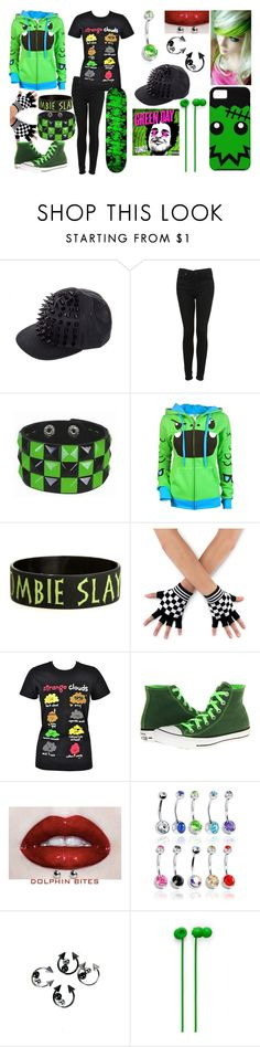 """""""Emo Skater: Black & Green"""" by comicloverlife ❤ liked on Polyvore featuring Topshop, Goodie Two Sleeves, Converse and Urbanears"""