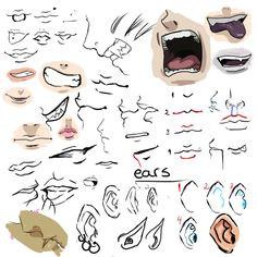 Sketching Mouths and ears by ~Ariis Animation Tutorials Art Reference Poses, Drawing Reference, Sketch Mouth, 7th Grade Art, Drawing Heads, Animation Tutorial, Hero Wallpaper, You Draw, Drawing Skills