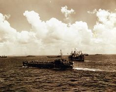 80-G-307729:  Battle of Saipan, June-July 1944.  USS LST 40 in foreground and LST-483 in center.   Photograph received March 20, 1945.      U.S. Navy photograph, now in the collections of the U.S. Navy.  (2017/04/11).