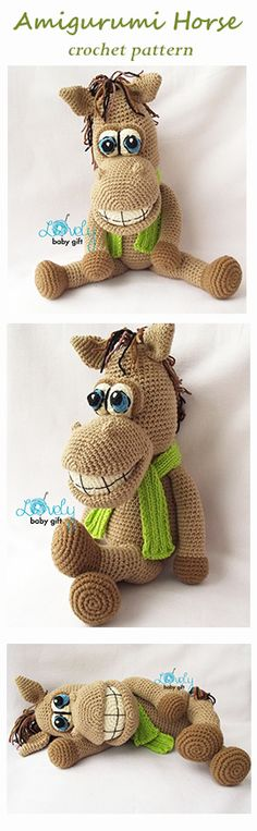 Amigurumi Pattern - Horse Crochet pattern, häkelanleitung, haakpatroon, hæklet mønster, modèle crochet https://www.etsy.com/listing/166647883/amigurumi-crochet-pattern-stuffed-animal?ref=shop_home_active_9