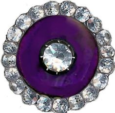 Button--Very Fine Georgian Deep Purple and Crystal Paste in Silver.