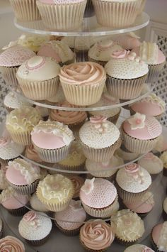 Vintage Pink Wedding Cupcakes by Green Daisy Cakery. Great and unique alternative to the traditional wedding cake, also great for mini centerpieces or ceremony snacks!