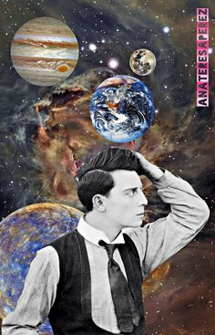Buster Keaton #ArtCollage ⭐#Stars by AnaTeresaPerez