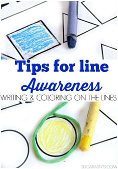 Easy Tips to Help Kids Write On the Lines Tips for helping kids to write on the lines in handwriting problems. Ideas to help kids with sloppy handwriting from an Occupational Therapist. Handwriting Activities, Handwriting Practice, Neat Handwriting, Pre Writing, Kids Writing, Hand Writing, Teaching Colors, Teaching Kids, Sloppy Handwriting