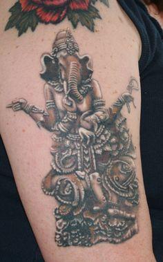 I got a new tattoo, and my son said to post it, Ganesha, by Laura Kondon @ T Tattoo, in Flint MI. I love it! - Imgur