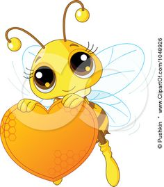 Royalty-Free (RF) Clip Art Illustration of a Cute Bee Holding A Honey Valentine Heart by Pushkin