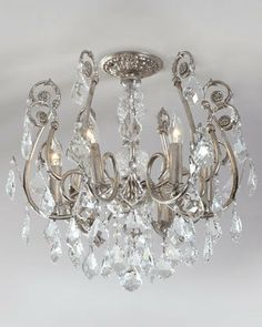 ♥Over the makeup vanity! $775.00 Mini Chandelier Flushmount Light Fixture