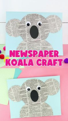 Grab our free craft template to make this cute newspaper koala craft. Fun recyclable craft for kids, animal craft and great for an Earth Day craft for preschoolers. Preschool Arts And Crafts, Animal Crafts For Kids, Toddler Crafts, Diy Crafts For Kids, Art For Kids, Crafts For Preschoolers, Arts And Crafts For Kids Toddlers, Farm Animal Crafts, Recycled Crafts Kids