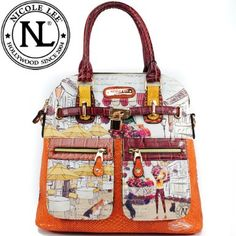 Click Here and Buy it On Amazon.com $59.99 Amazon.com: Nicole Lee Claire Blocked Print Tote Gitana Vintage Print Two Front Cargo Zip Pockets and Front Lock Embellishment Handbag Hollywood Celebrity Animal Print Garden Structured Handbag Purse with Adjustable Shoulder Strap in Burgundy Wine and Snake: Clothing