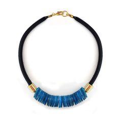 U-Boutique Shops   Net necklace,Blue shell,Handmade necklace,Golden metal beads,Beadwork,Woman necklace,Statement necklace,Unique Jewelry   tami peretz