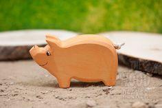 Cochon en bois, jouets Waldorf, jouet Bio, animaux, Zoo, ferme, porc, fait à la main, jouets pour enfants, cadeaux, Partyfavors pour les garçons et les filles, cadeau d'anniversaire