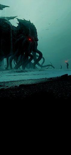 Hp Lovecraft, Dark Fantasy Art, Fantasy Artwork, Dark Art, Cthulhu Art, Call Of Cthulhu Rpg, Monster Concept Art, Monster Art, Arte Horror