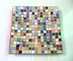 Vintage Mosaic Tile Plate Trinket Tray Ashtray Multi Coloured Rainbow Squares by ByElleBee on Etsy