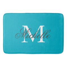 Large aqua turquoise blue bath mat with elegant name monogram. Classy bathroom decor. Elegant taupe brown and white monogrammed design. Stylish script typography with personalized name initial letter. Cute wedding or birthday gift idea for men and women. Pretty chic interior decoration for bath room. Available in small, medium and large big size.