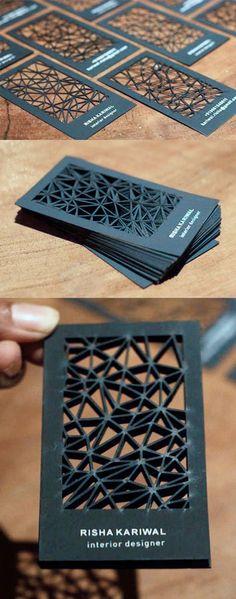 Intricate Laser Cut Black Business Card by Smriti Kariwal