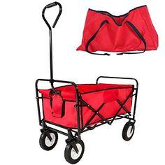 TecTake Carro de mano plegable carretilla de transporte rojo con funda de transporte